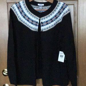 Izod Fair Isle Cardigan Sweater - new with tags